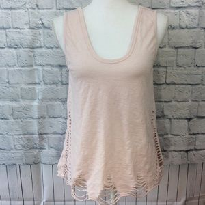 Anthro Pepin Echo Soft Pink Destroyed Tank - Small